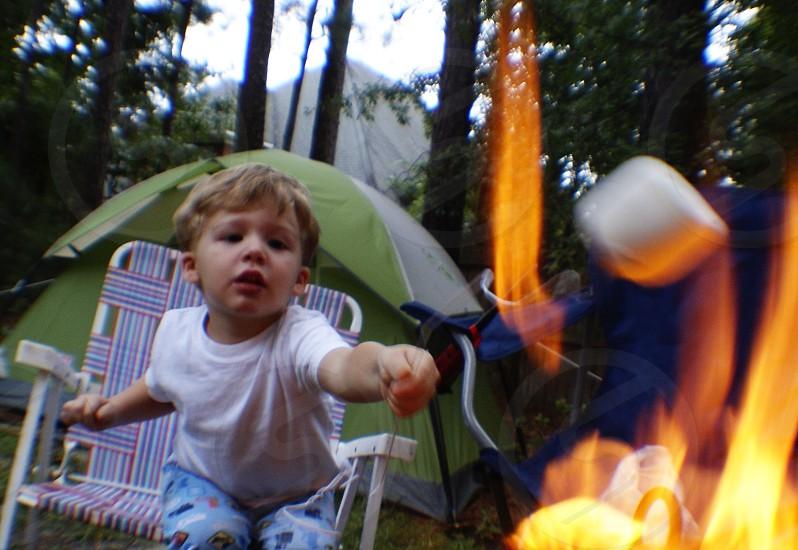 Camping campfire marshmallows s'mores photo