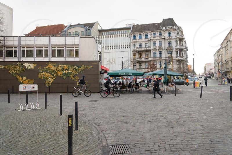 Pop up coffee shop still working in winter season inside Neukolln Neighborhood in Berlin Germany  photo