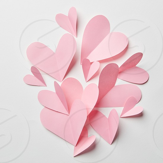 beautiful pink hearts as a background for valentines day photo