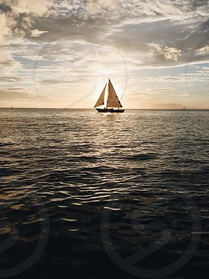 Boat sail boat Caribbean ocean sea photo