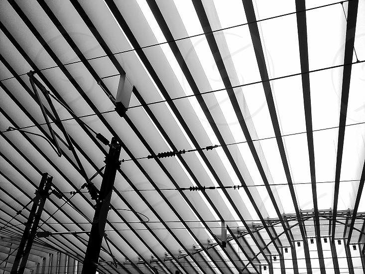 black and white architectural detail in a station photo
