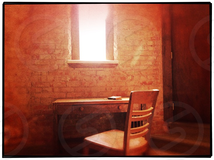 brown wooden table and chair inside room photo