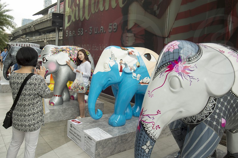 people take pictures at a art Elephant Parade at the Siam Square in the city of Bangkok in Thailand in Southeastasia. photo