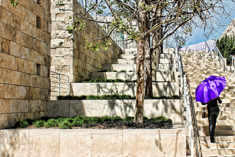 Seen from behind a woman with a bright purple umbrella walks up  tanstone stairs near a light stone wall. photo