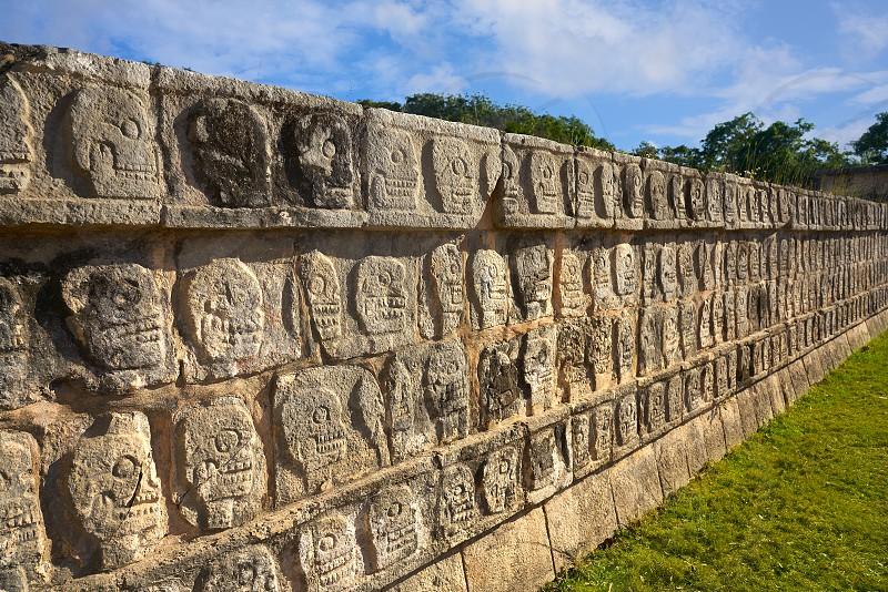 Chichen Itza Tzompantli the Wall of Skulls in Mexico Yucatan photo