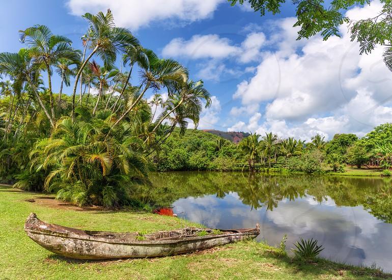 A forgotten canoe decays in the jungles of Kauai Hawaii. photo
