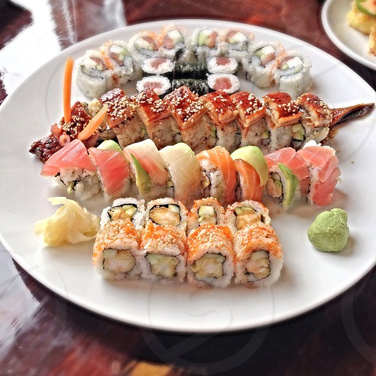 sushi on plate food photography photo
