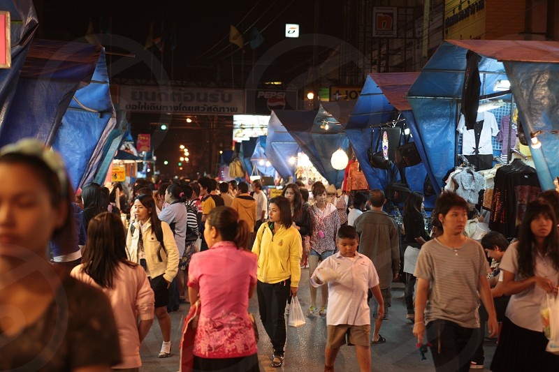 the nightmarket in the city of Khorat or Nakhon Ratchasima in the Region of Isan in Northeast Thailand in Thailand.