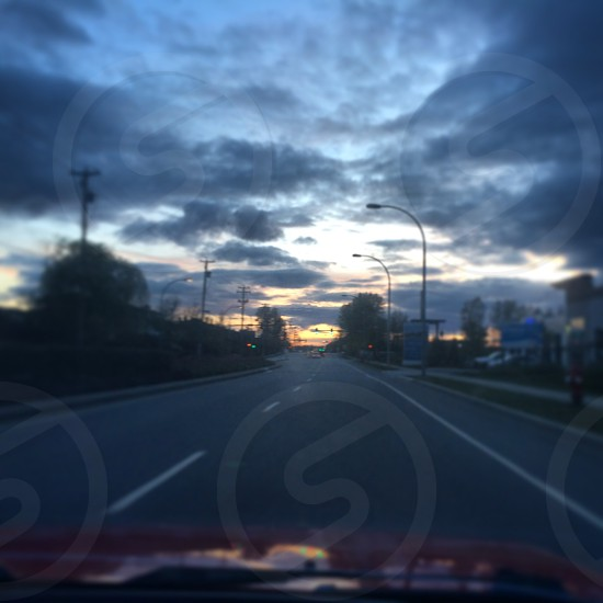 Driving into the March Sunset.  photo