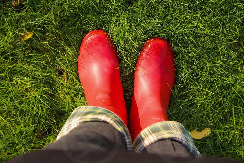 Wellies in grass photo