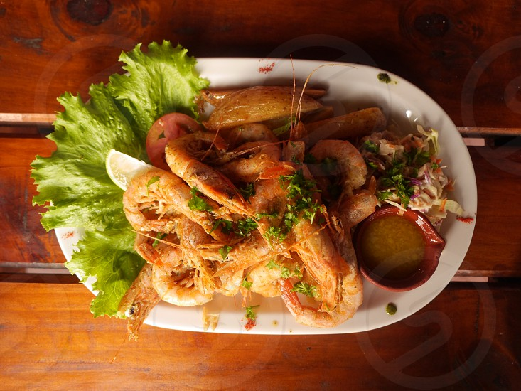 Fresh prawns seafood platter plate cruise cuisine photo