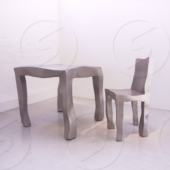 silver table and chair photo