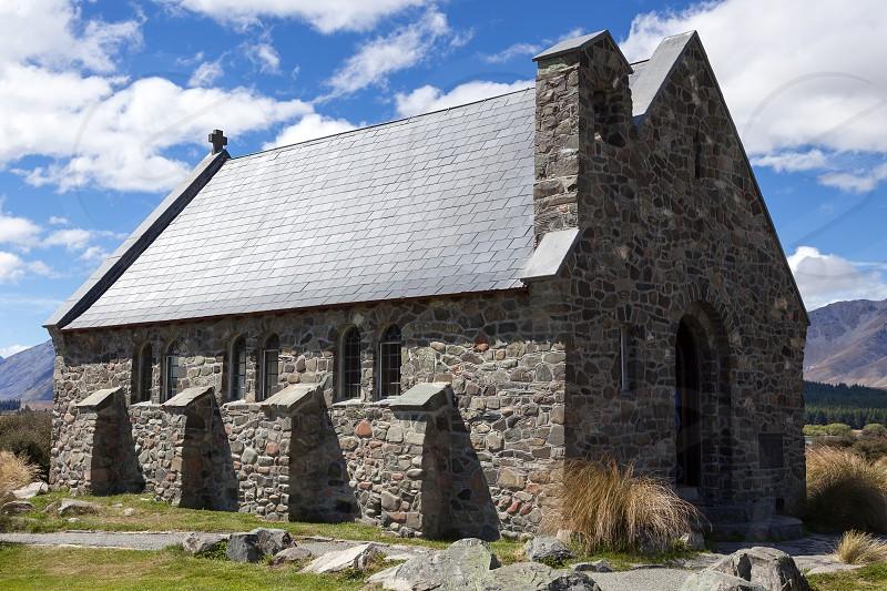 LAKE TEKAPO MACKENZIE REGION/NEW ZEALAND - FEBRUARY 23 : Church of the Good Shepherd at Lake Tekapo in  New Zealand on February 23 2012 photo
