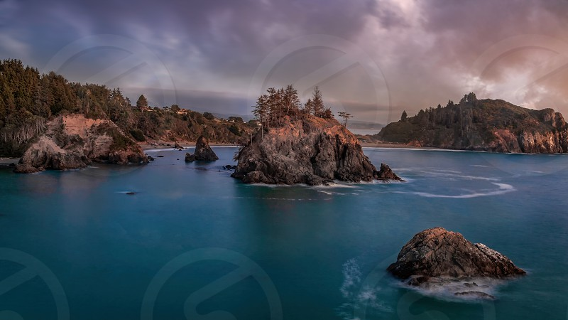 Sunset at Pewetole Island Trinidad California USA photo