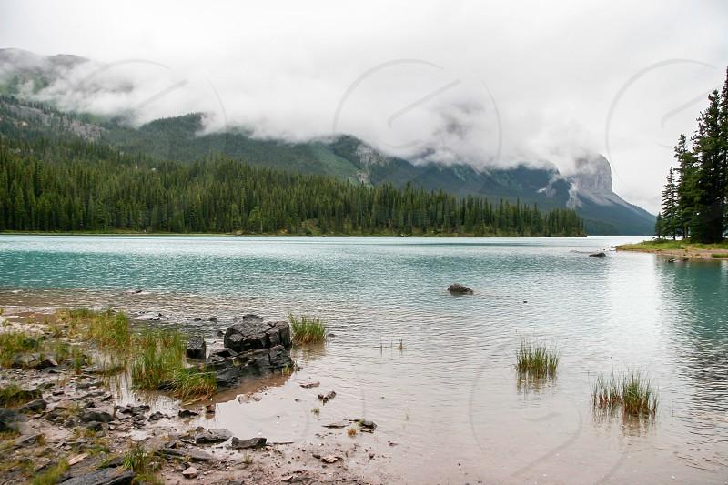 Maligne Lake on a Cloudy Day photo