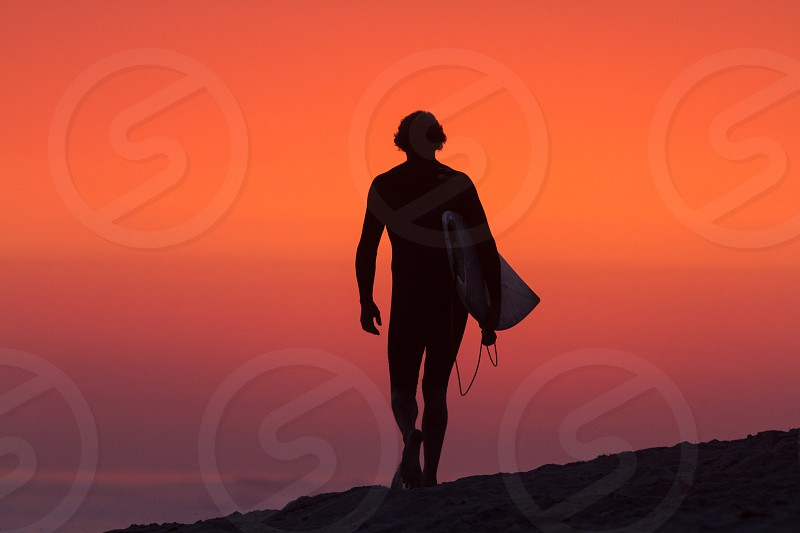 Lower Trestles Solo Surfer Sunset Southern California photo