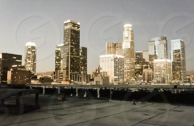 Downtown LA as the sun sets photo