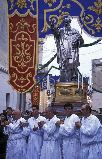 The traditional prozession of St Philip at the Church St Philip in the Village of Zebbug on Malta in Europe. photo