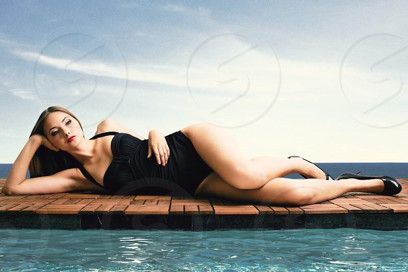 Swimsuit model beautiful gorgeous resort bikini pool summer young woman stylish style photo