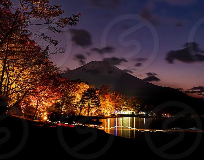 Night Maple in Yamanaka-lake Yamanashi Prefecture Nov 2019 photo
