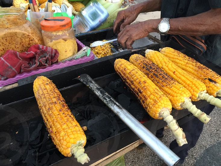 Corn Street Food Vendor charcoal grill photo
