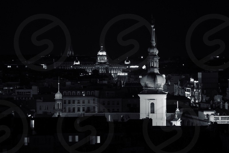 Prague Europe night city skyline architecture rooftop tower spire vacation travel castle building palace photo