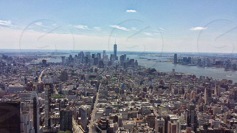 The New York City skyline from the South Side a top The Empire State Building. photo