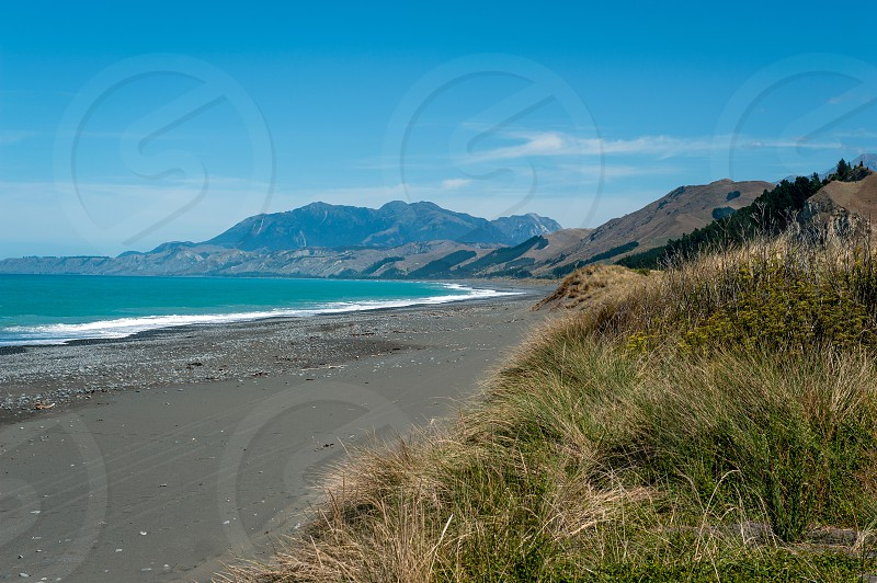 Rugged coastline of Kaikoura in Canterbury Region South Island of New Zealand photo