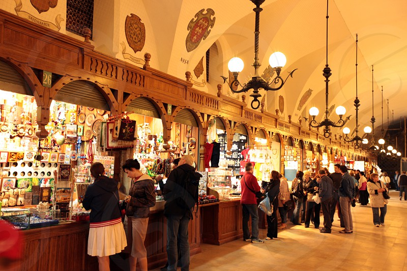 the indoor market at the Rynek Glowny square in the old town of Cracow in Poland in east Europe. photo