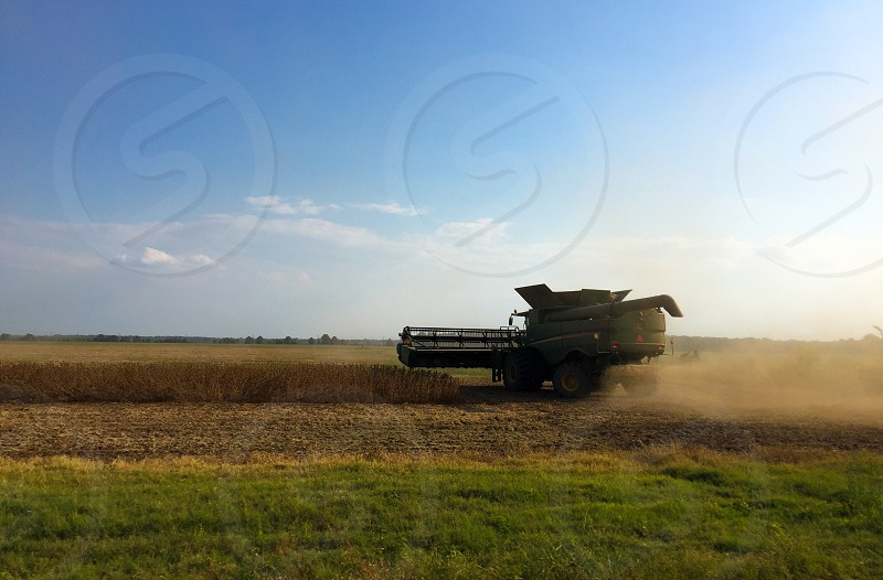 green farming combine harvesting wheat under clear sky during daytime photo