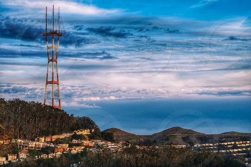 Sutro Tower 977 fttv  radio antenna tower San Francisco California Twin Peaks Mount Sutro Clarendon Heights prominent feature city skyline landmark  photo