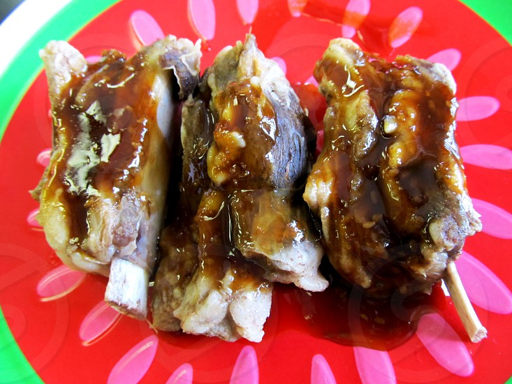 Steamed sauced lamb ribs photo