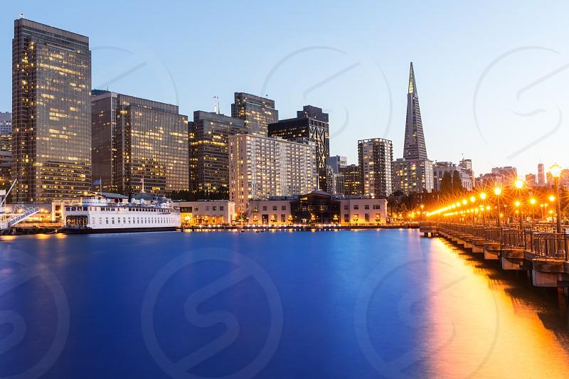 San Francisco Pier 7 sunset in California USA photo
