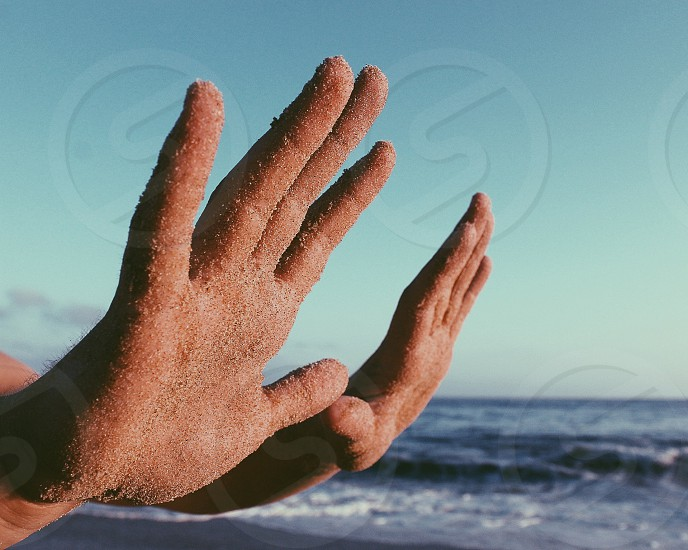 Sandy hands photo