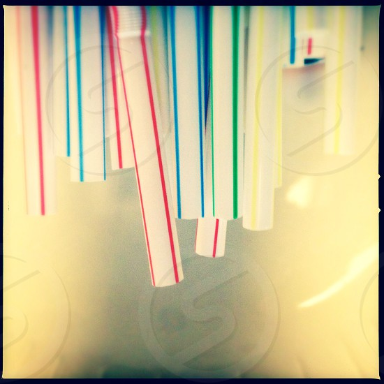 Colorful straws - close up  photo