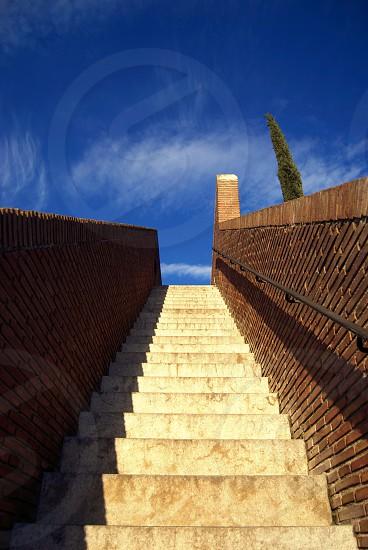 stairs muralla Girona fort sky up photo