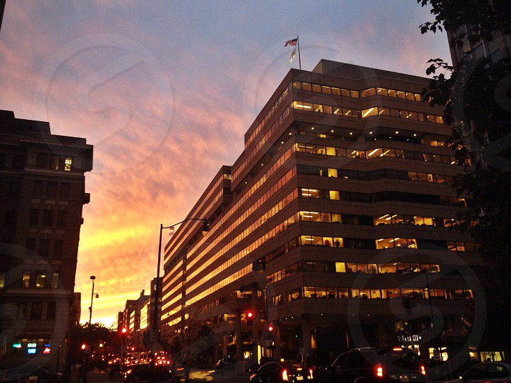 Sunset Washington DC buildings urban landscape urban architecture reflection photo