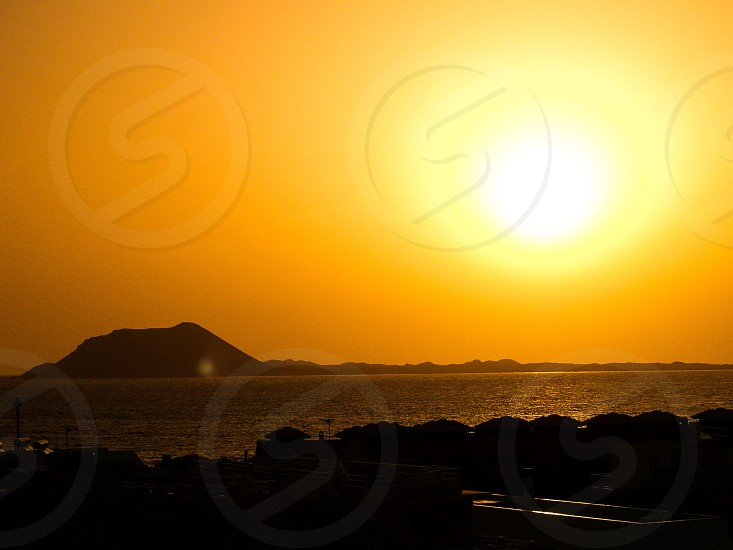 Sunset over the island of Lobos.  photo