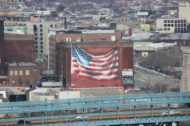 Painting of American Flag on building in Philadelphia PA photo
