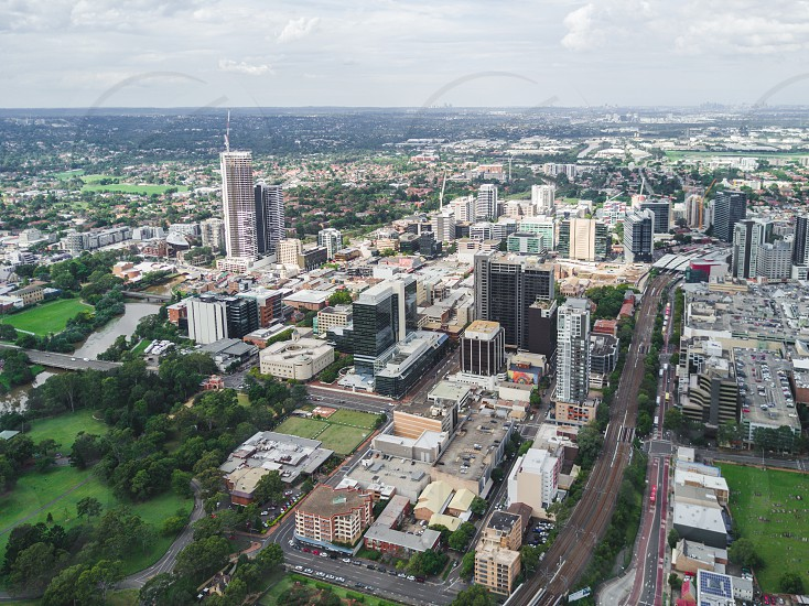 Parramatta City from the air / river photo