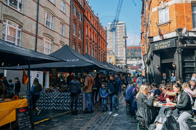 Soho area on a sunny day in London. photo