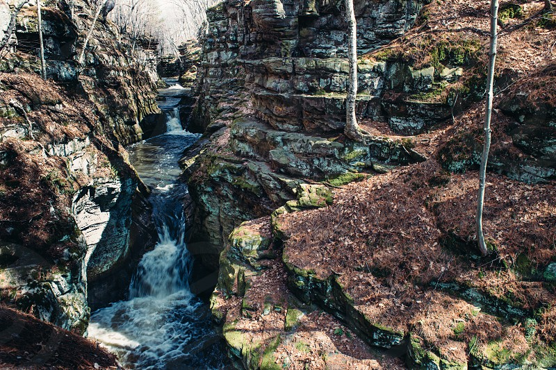 Pewit's Nest State Natural Area spring thaw Wisconsin.  photo