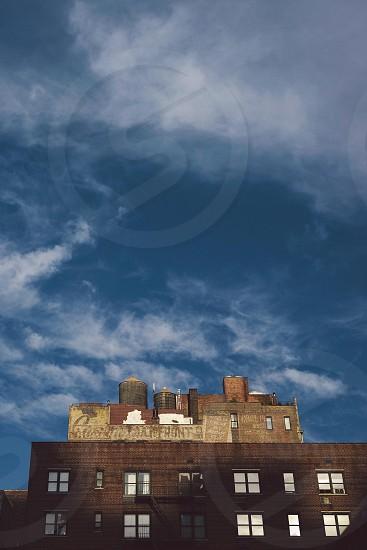 Manhattan. City. Sunset. Water tower.  photo