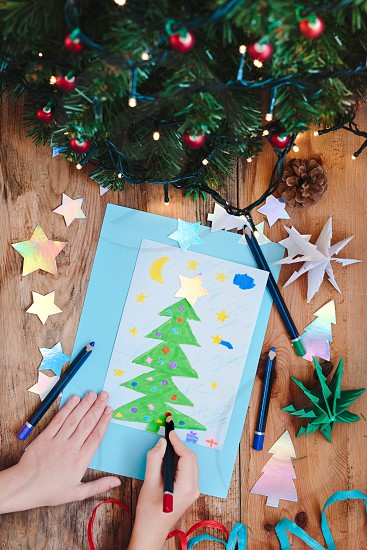 Hand drawn Christmas card and decorations photo
