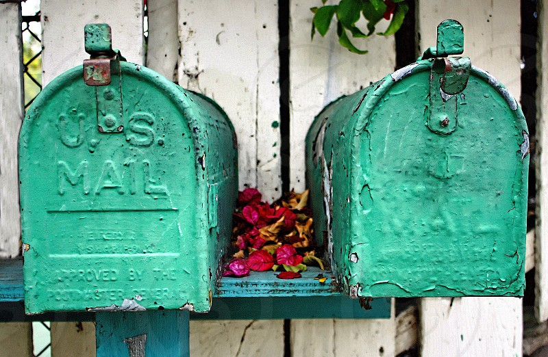 Two vintage green rural mailboxes photo