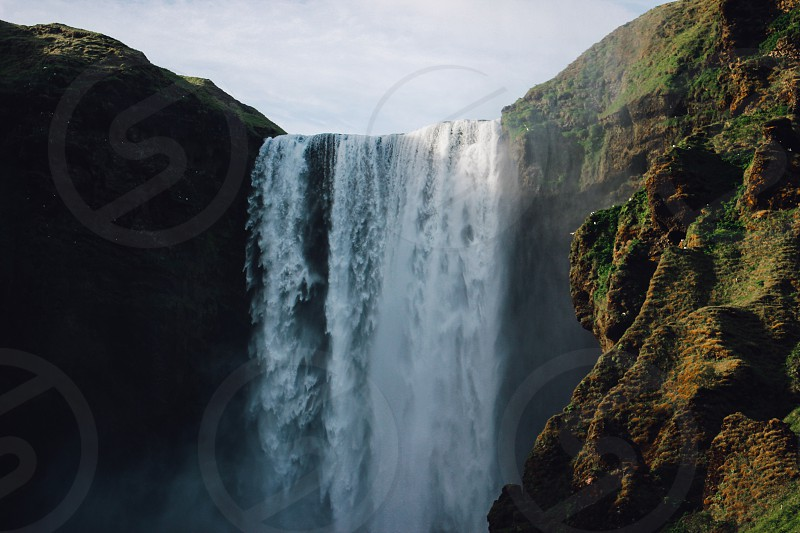 waterfall adventure iceland nature  photo