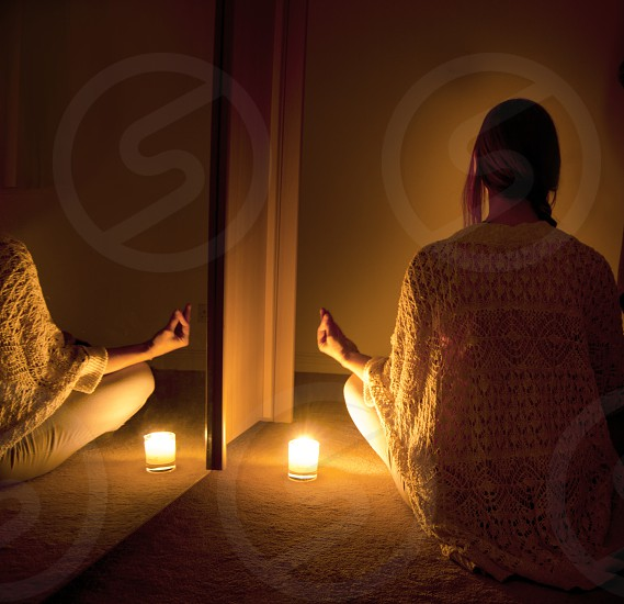 The stillness within. Meditation candlelight wellness peace reflection photo