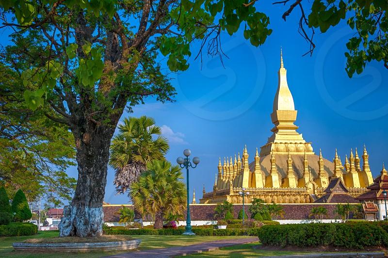 temple thatluang Vientiene Lao Laos pagoda chedi gold golden religion landmark tourism travel worship Buddhist Buddhism ASEAN southeast Asia photo