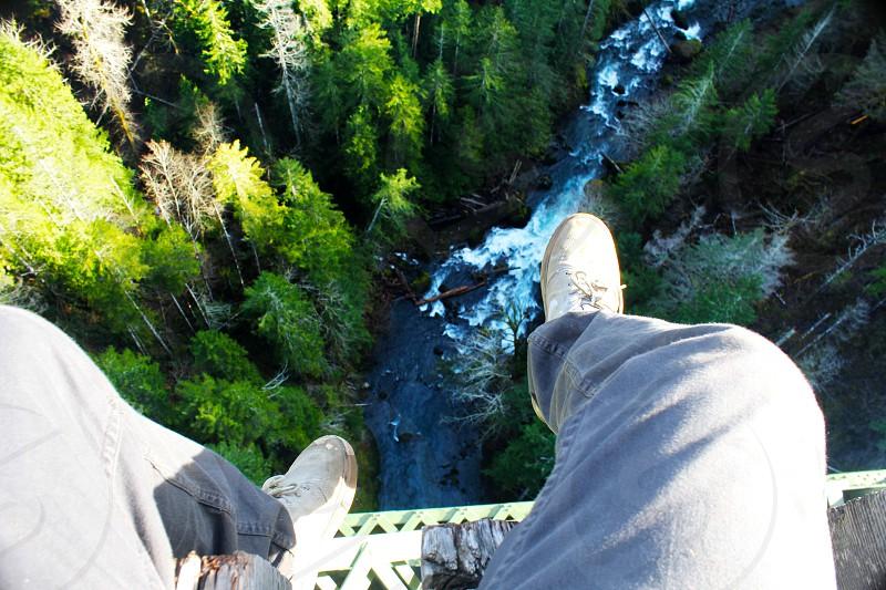 Vance creek river woods bridge railroad abandoned rush elevated jeans shoes photo