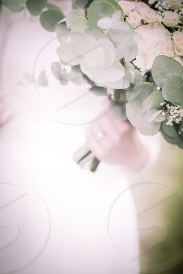 To have and to hold bride wedding wedding ring  bouquet  flowers flower bouquet  softness soft soft focus white eucalyptus  ring hand holding wedding dress  photo